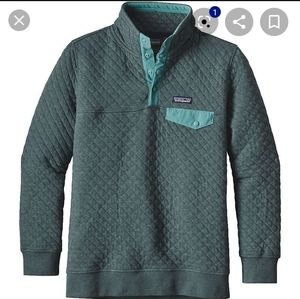 Patagonia quilted cotton teal blue green Pullover